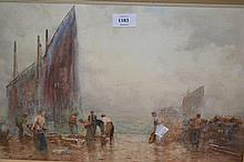 John Ernest Aitken, watercolour, fisherfolk on the quayside at Montrose, Scotland, signed, 11.5ins x 19ins, framed
