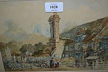 George Pyne, watercolour, ' Cottage Near Leatherhead ', with figures to the foreground, 7.5ins x 10.75ins, gilt framed, inscribed verso