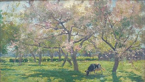 HENRI LEEUW (1866-1918) A COW GRAZING IN AN