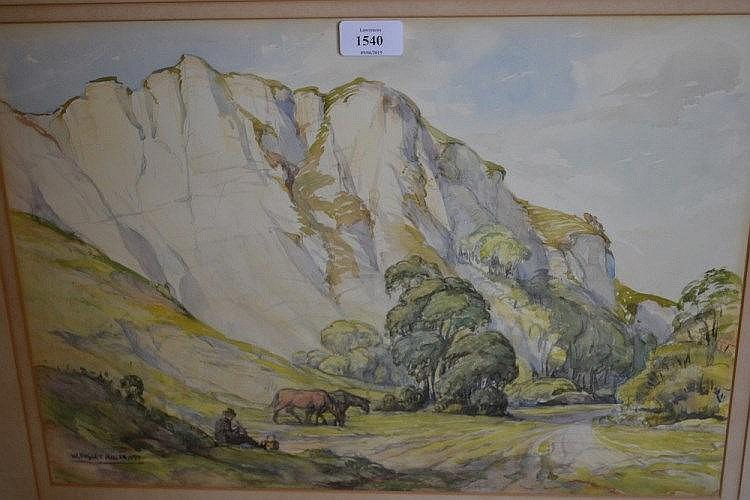 William Ongley Miller, British school watercolour, old chalk pit near Lewes, signed and dated 1935, label verso, 19ins x 13ins