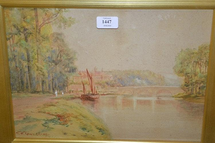 George Hyde Pownall, signed watercolour, view of the Thames at Richmond Bridge with figures on a tow path, 10.5ins x 14.5ins