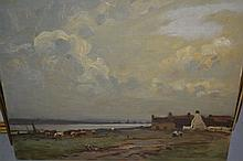 H. Charles Clifford, oil on canvas board, figures and cattle before riverside buildings, signed, 14ins x 18ins