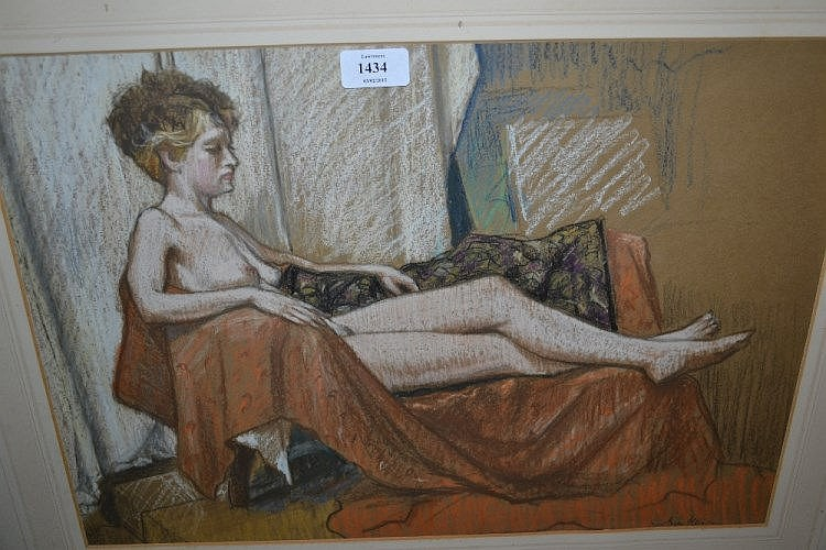 Anne Hanson, pastel study, nude female, a pencil study of a girl and a pen and ink study, ' Home from the Wars '