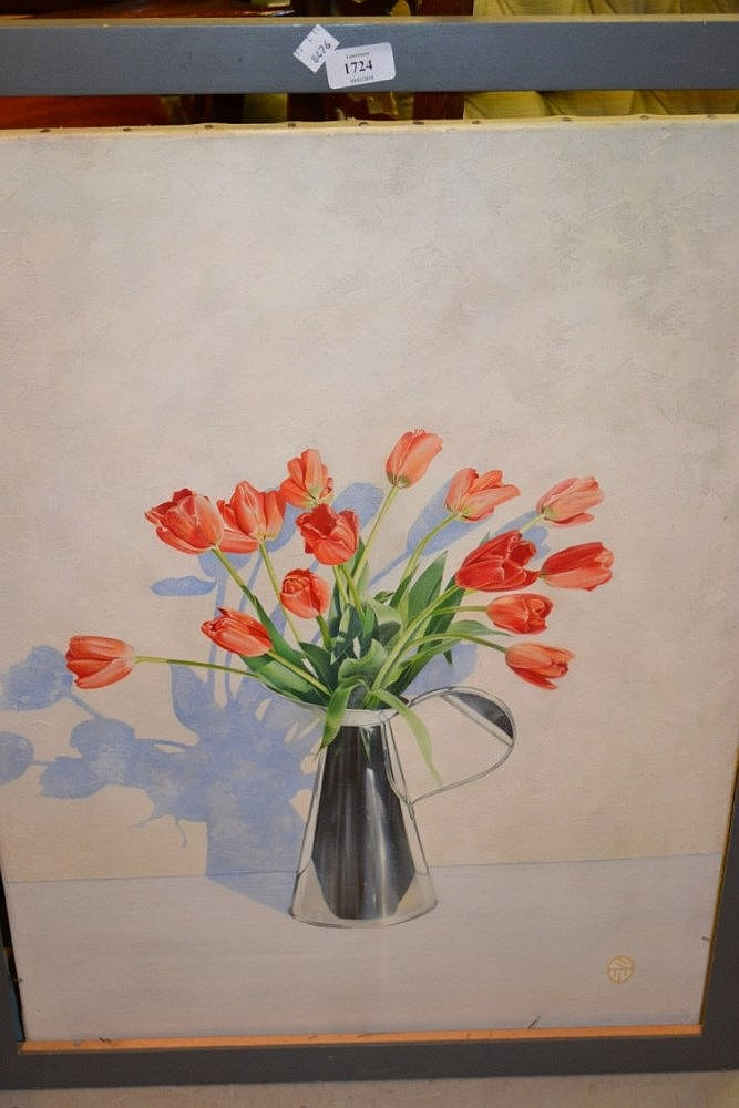 Nigel Waymouth, 20th Century oil on canvas, still life jug of tulips, signed with monogram and labelled verso, 29.5ins x 21.5ins, framed