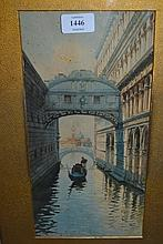 D.G. Angiolini, watercolour, view of the bridge of Sighs, Venice, 12.5ins x 6ins, gilt framed