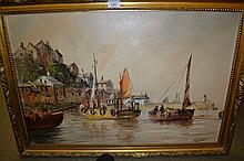 Terry Burke, 20th Century oil on canvas, harbour scene with fishing boats, signed, 19.5ins x 29.5ins, gilt framed