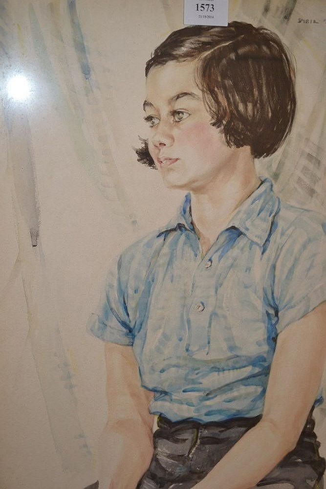Sybil Tawse, signed watercolour, portrait of a