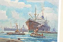 George Ayling, watercolour, harbour scene with shi