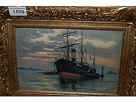 F.G. Skeats, signed oil, shipping scene, inscribed