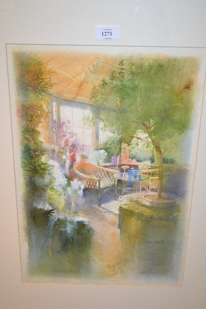 Simon Jones, 20th Century watercolour, a conservatory interior scene, signed and dated '93, 27ins x 21ins