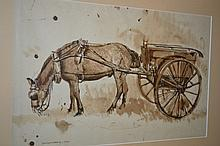 James Hockey, sepia watercolour and ink, study of a horse and cart, signed and dated 1939, 10ins x 16ins, together with a pen and ink drawing by the same hand, landscape at Urbino, signed and dated 1960, 14ins x 10ins