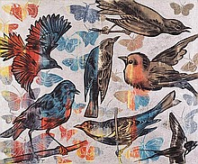 DAVID BROMLEY born 1960 Birds synthetic polymer