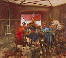 HUGH SAWREY (1919-1999) The Card Game oil on