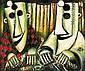 PRO HART, (1928-2006), Masks, oil on canvas signed