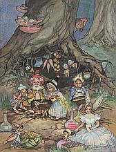 PEG MALTBY (1899-1984) Fairies watercolour on
