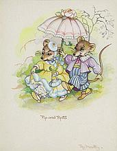 PEG MALTBY (1899-1984) Pip and Pepita watercolour