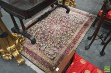 Small Chinese Silk Carpet, with rosette & arabesques on a navy field (190 x 120cm)