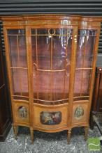 Good Late Victorian Satinwood Bow Front Display Cabinet, painted with festoons & Kauffmann style panels, having astragal door and si...