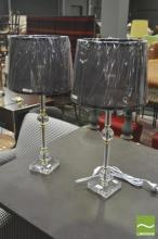 Pair of Brass & Chrome Table Lamps (5662)