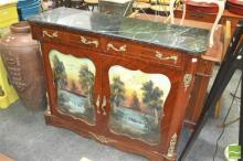 Marble Top Inlaid Timber Cabinet, with two drawers and doors