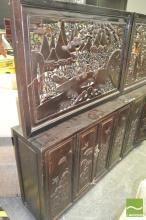 Carved Panel Top Oriental Two Door Cabinet