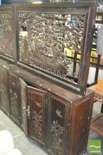 Carved Panel Top Oriental Two Door Cabinet (Small loss to Fretwork)