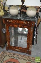 Marble Top Inlaid Timber Display Cabinet, with single door and brass mounts