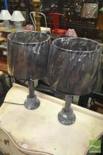 Pair of Black Marble Lamps (2100)