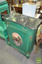 Marble Top Painted Timber Cabinet, with single drawer and door