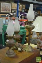 Vintage Lantern Form Table Lamp and Two Others
