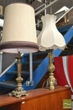 Pierced Brass Table Lamp & Another