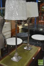 Pair of Chrome and Brass Table Lamps (5608chr)