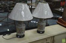 Pair of Floral Ceramic Lamps (4431)