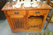 Timber Cabinet, with two drawers & carved doors