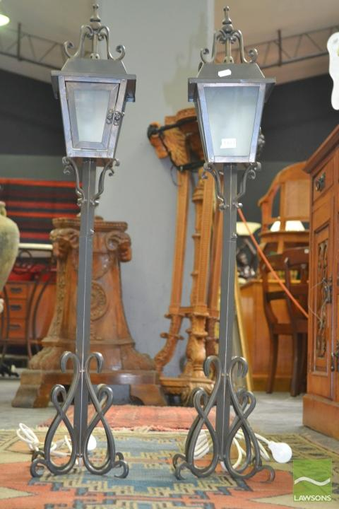 lot 1483 pair of street lantern style table lamps. Black Bedroom Furniture Sets. Home Design Ideas