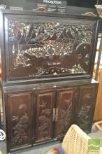 Carved Timber Oriental Cabinet (some losses to fretwork)