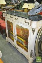Marble Top Timber Cabinet, with two drawers and doors