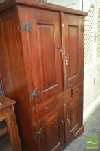 Oriental Four Door Cabinet, with butterfly decoration