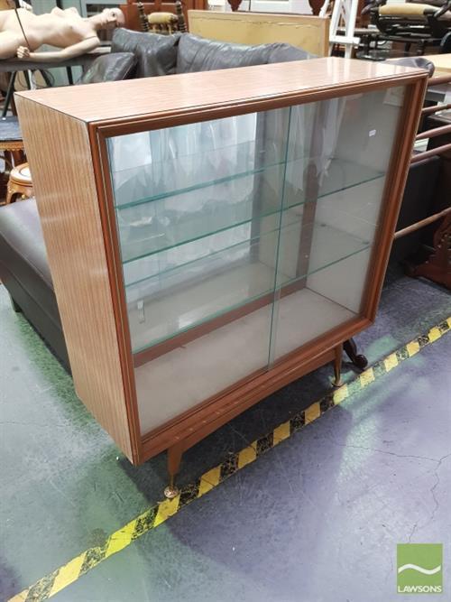 Raised Display Cabinet W Sliding Glass Doors