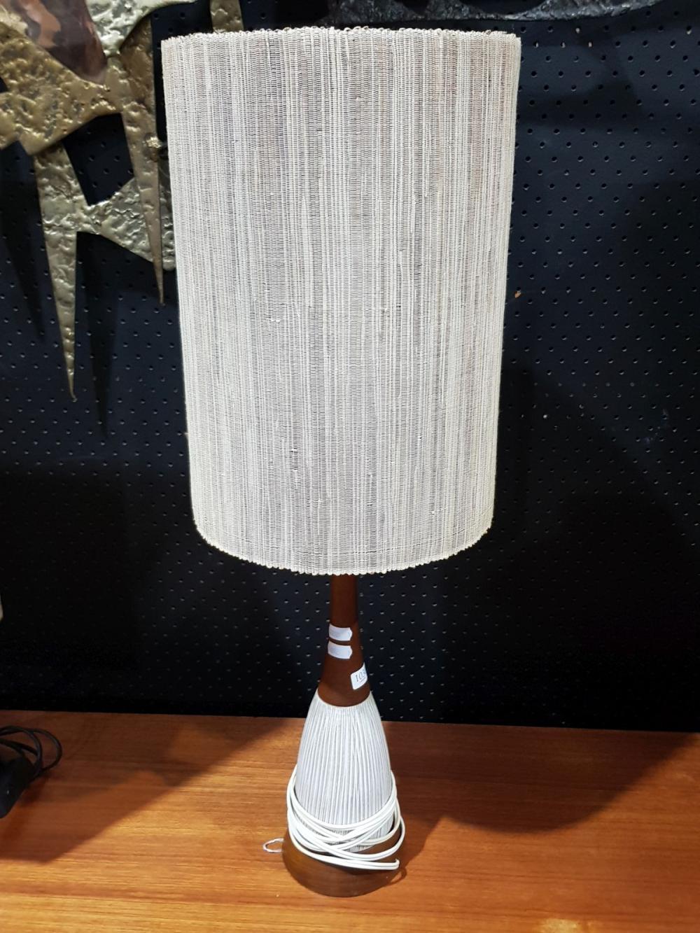 Teak and Ceramic Vintage Table Lamp