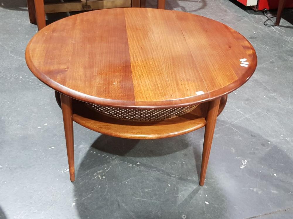 Round Teak Coffee Table with Rattan Shelf Below