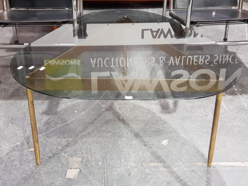 Glass Top Vintage Coffee Table on Bronze Base