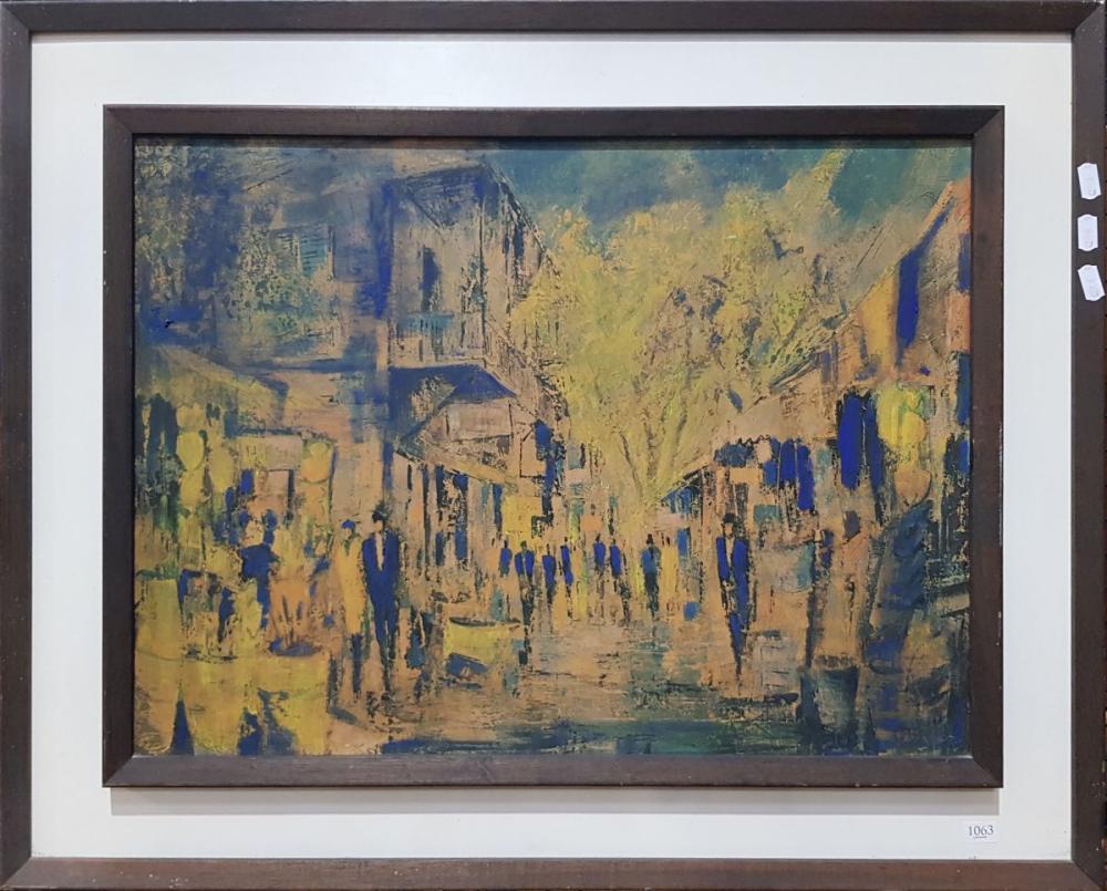 Jack Layoux - Paris Street Scene, Hand Coloured Print  44.5 x 60cm