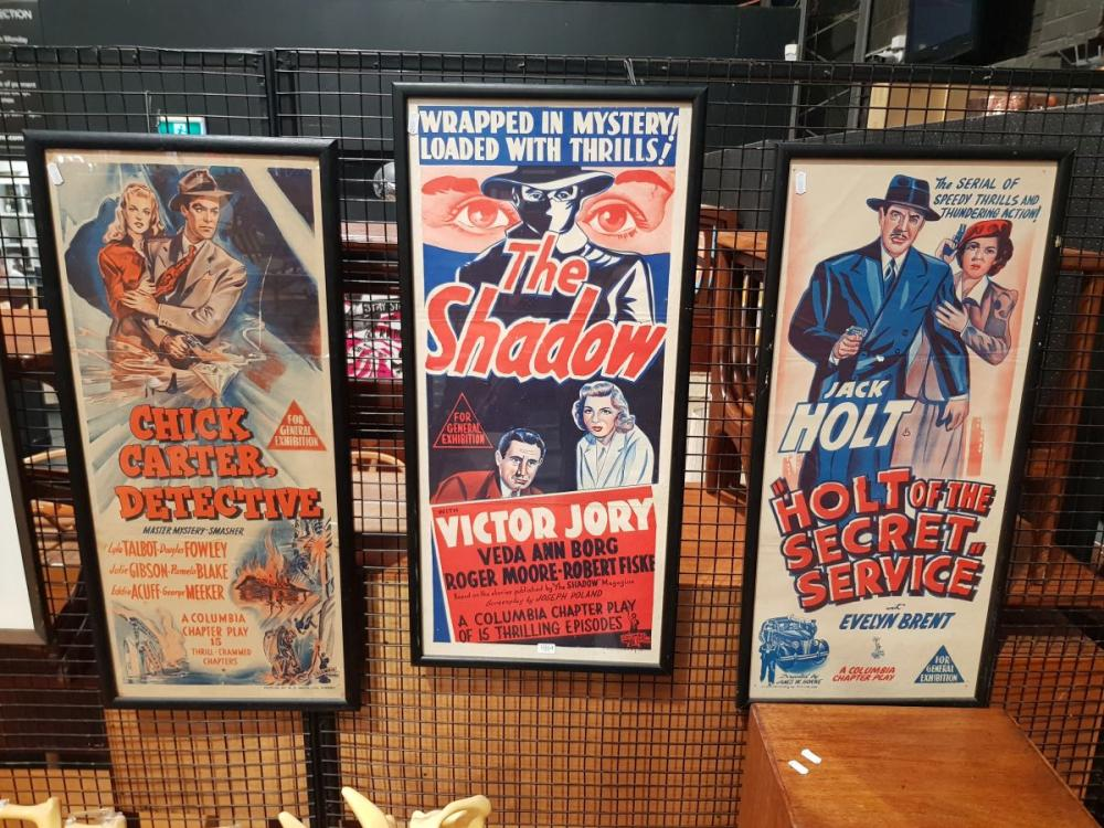 Set of (3) Movie Poster Bills: 'The Shadow; Chick Carter, Detective, Holt of the Secret Service', colour lithographs -