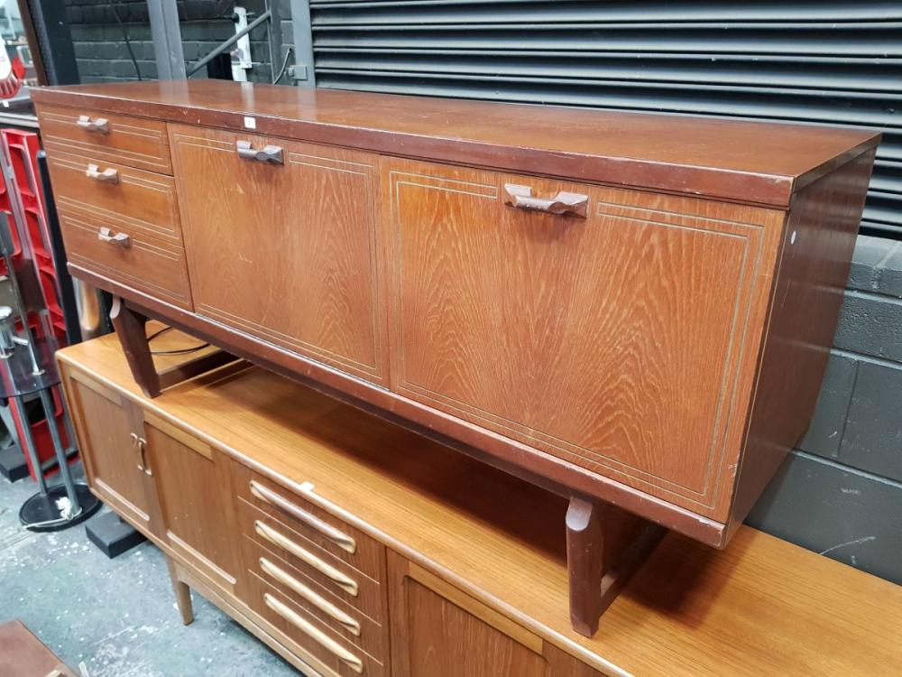 Vintage Teak Sideboard with Central Fall-Front Bar Section