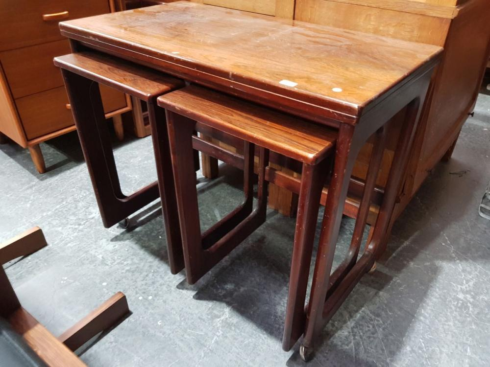 Quality McIntosh Rosewood Nest of Tables with fold over top