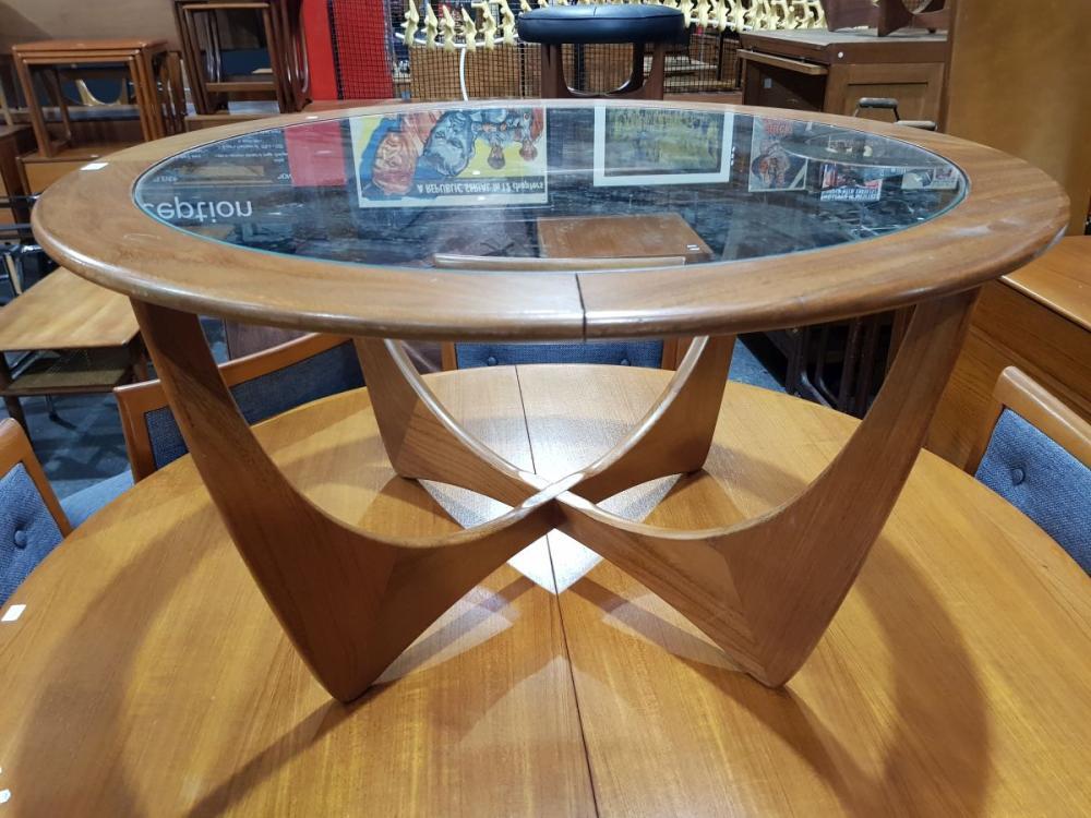 G Plan 'Atmos' Circular Teak Coffee Table with Glass Top