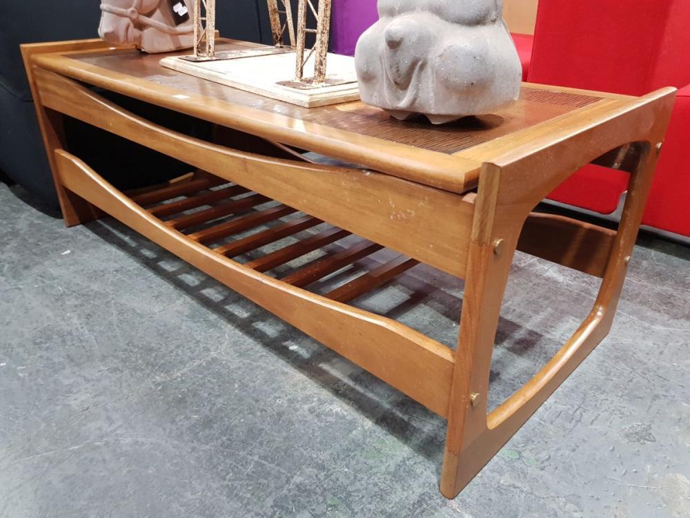 Danish Teak Coffee Table with embossed copper top