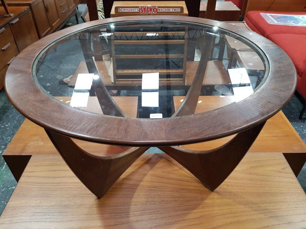 G Plan Circular Coffee Table with Glass Top