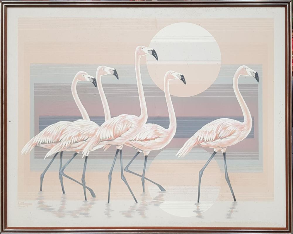 Large Flamingos Wading Wall Art by Letterman